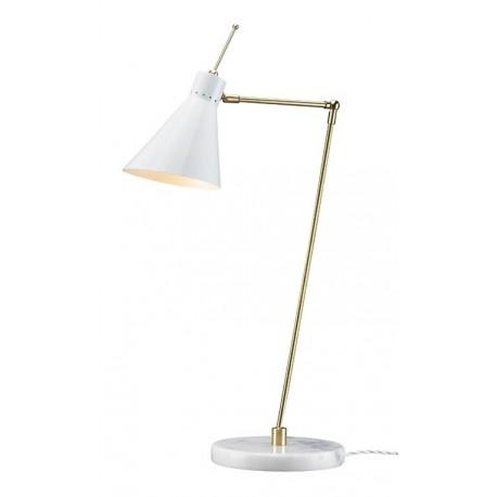 LAMPE DE TABLE BLANCHE AVEC UNE BASE EN MARBRE LAMPE DE TABLE EN MÉTAL DORÉ ANNÉES 50 Lampe de table