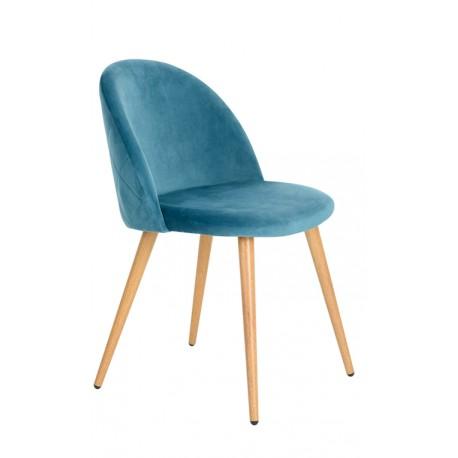Velours bleu chaise Vintage renard Chaises de velours