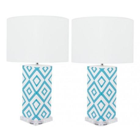 Lámpara de Mesa Cerámica Claire Blanca y Azul Turquesa