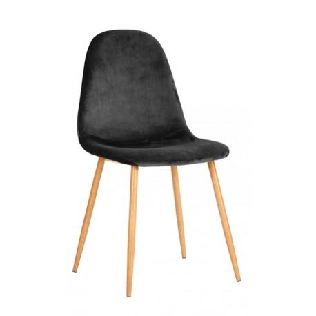 Chaise en velours gris cendré Lucia Chaises de velours