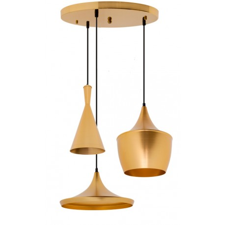 ENSEMBLE DE 3 LAMPES EN SUSPENSION BEAT STYLE ALUMINIUM DORÉ