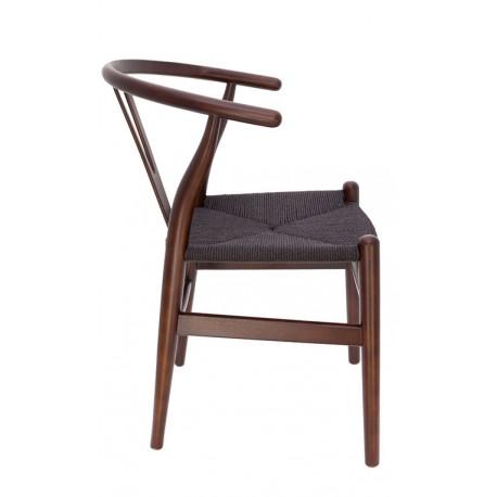 Chaise en Bois Toscane CH24 noyer/ corde à papier noire