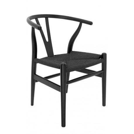 Chaise en Bois Toscane CH24 Noire / Corde à papier Noire Chaises en bois