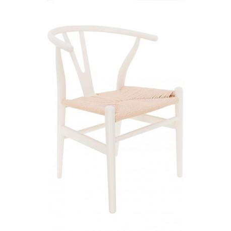 Chaise en Bois Toscane CH24 Blanche / Corde à papier Naturelle