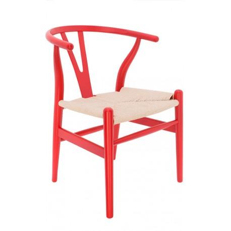 Chaise en Bois Toscane CH24 Rouge / Corde à papier Naturelle