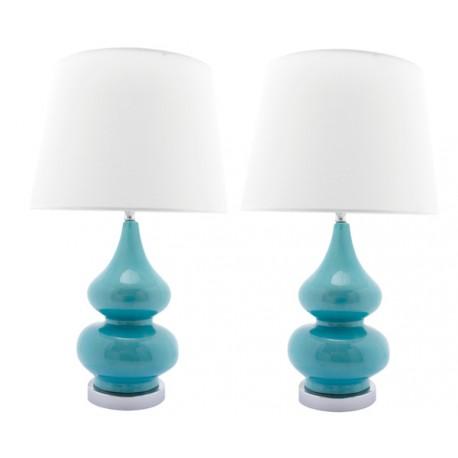 Lampe Céramique Vintage Gabrielle en Bleu Turquoise