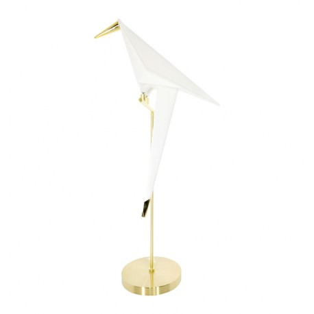 Lampe de table Bird en blanc et en doré Lampe de table