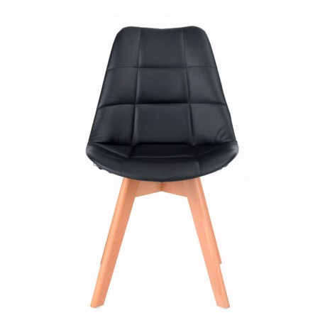Chaise en cuir tapissé noir Kandem Cross Chaises design moderne