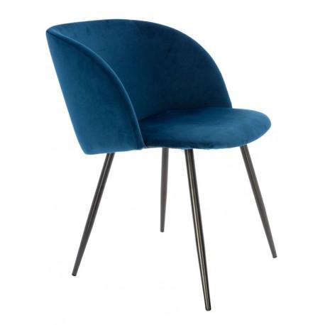 Fauteuil en velours Bleu Vintage Piaf