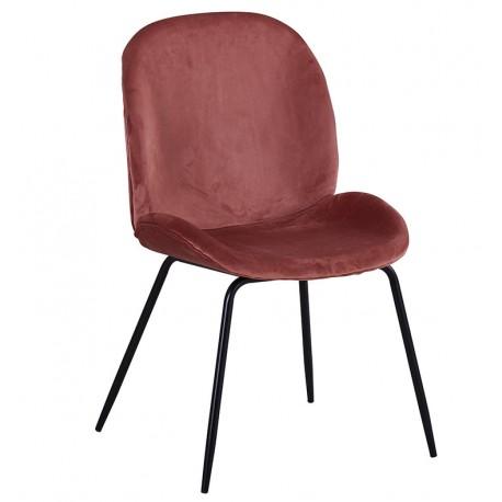 Chaise de Design en Velours Rose Mush avec des pattes noires