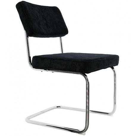 Chaise en velours côtelé Noir Coron