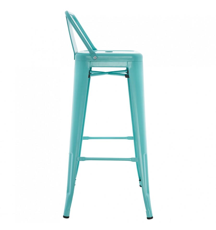 tabouret de style industriel turquoise avec dossier bistro bar stool iconscorner. Black Bedroom Furniture Sets. Home Design Ideas