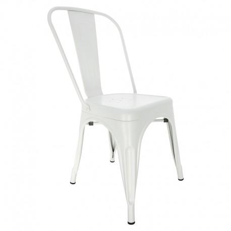 Chaise vintage de style industriel en blanc