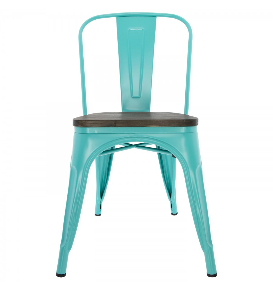 Chaise en métal vert Vintage Tolix avec siège en bois de teck