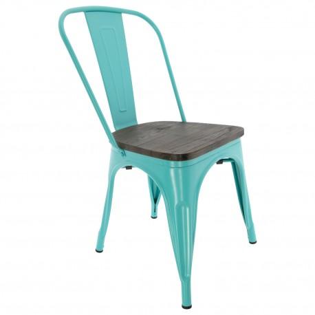 Chaise en teck de menthe verte vintage Chaise industrielle