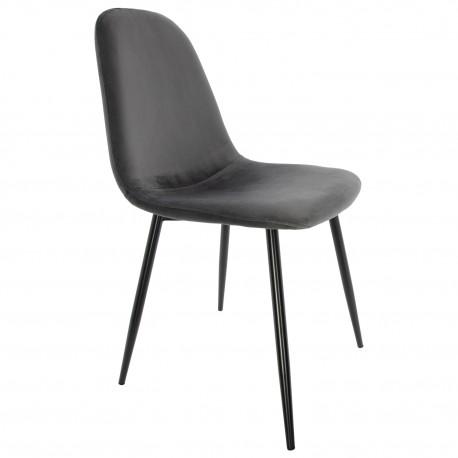 Chaise en velours gris de la Série Ada Accueil