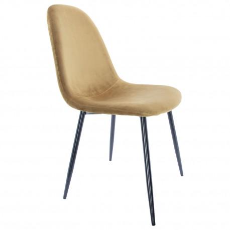 Chaise en velours Ocre avec des Pattes Noires Ada Chaises design