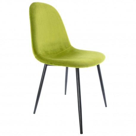 Chaise en velours Vert Citron avec des Pattes Noires Ada Chaises de velours