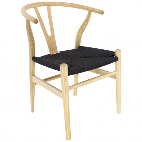 Chaise en Bois Toscane CH24 Naturelle / Corde à papier Noire