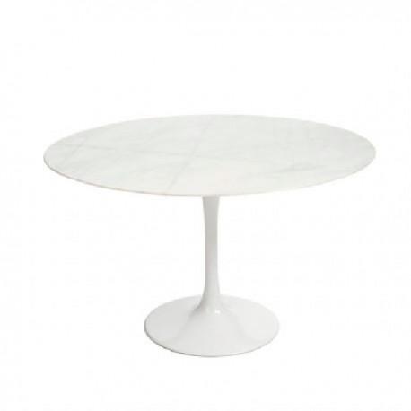 TABLE DE TULIPE DE LA SALLE À MANGER EN BLANC AVEC DESSUS DE MARBRE 100 CM Tables a diner