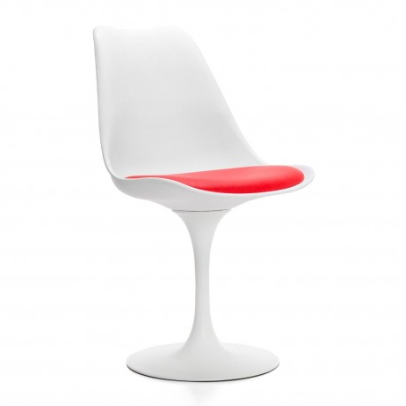 Chaise blanche années 50 coussin rouge Chaises design moderne