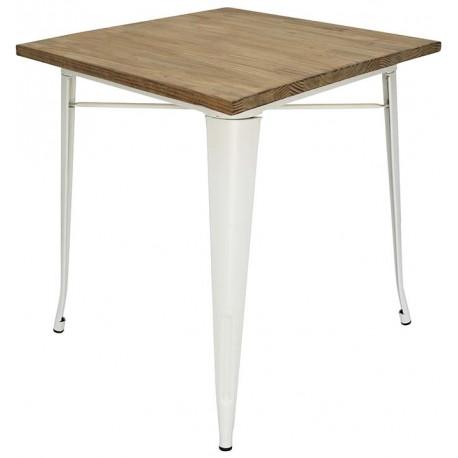 Table manger Tolix pattes blanches plateau en bois Tables a diner
