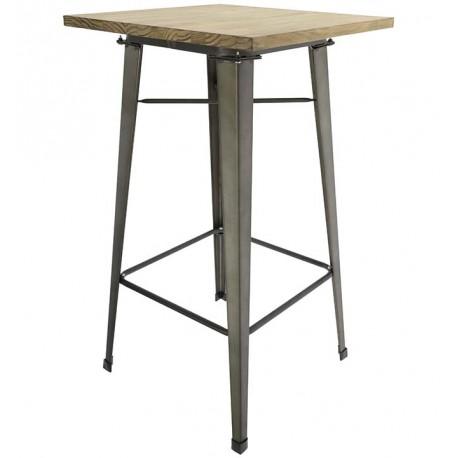 TABLE VERT OLIVE MÉTALLIQUE ÉLEVÉ AVEC PLANCHE EN BOIS Tables a diner