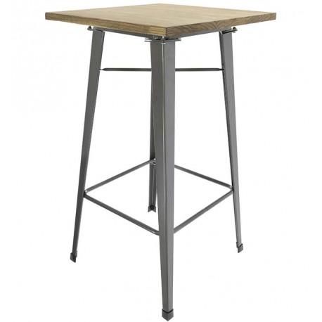 TABLE GRIS MÉTALLIQUE ÉLEVÉ AVEC PLANCHE EN BOIS Tables a diner