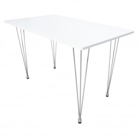 Table à manger blanche avec pieds en métal Tables a diner