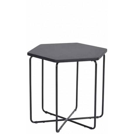 Mesa auxiliar negra hexagonal