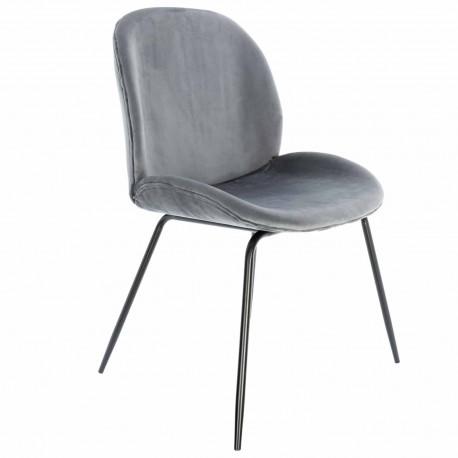 Chaise de Design en Velours Gris Mush avec des pattes noires Chaises de velours