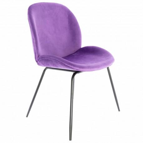 Chaise de Design en Velours Violet Mush avec des pattes noires Chaises de velours