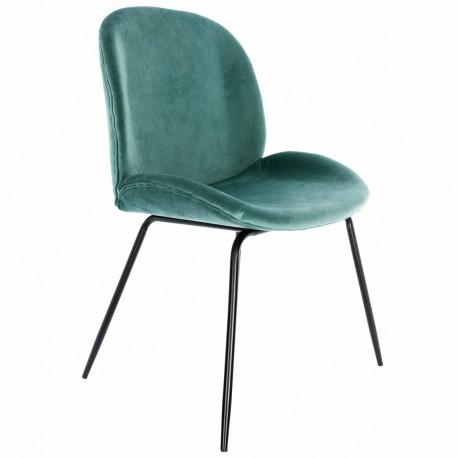 Chaise de Design en Velours Vert Aqua Mush avec des pattes noires Chaises de velours