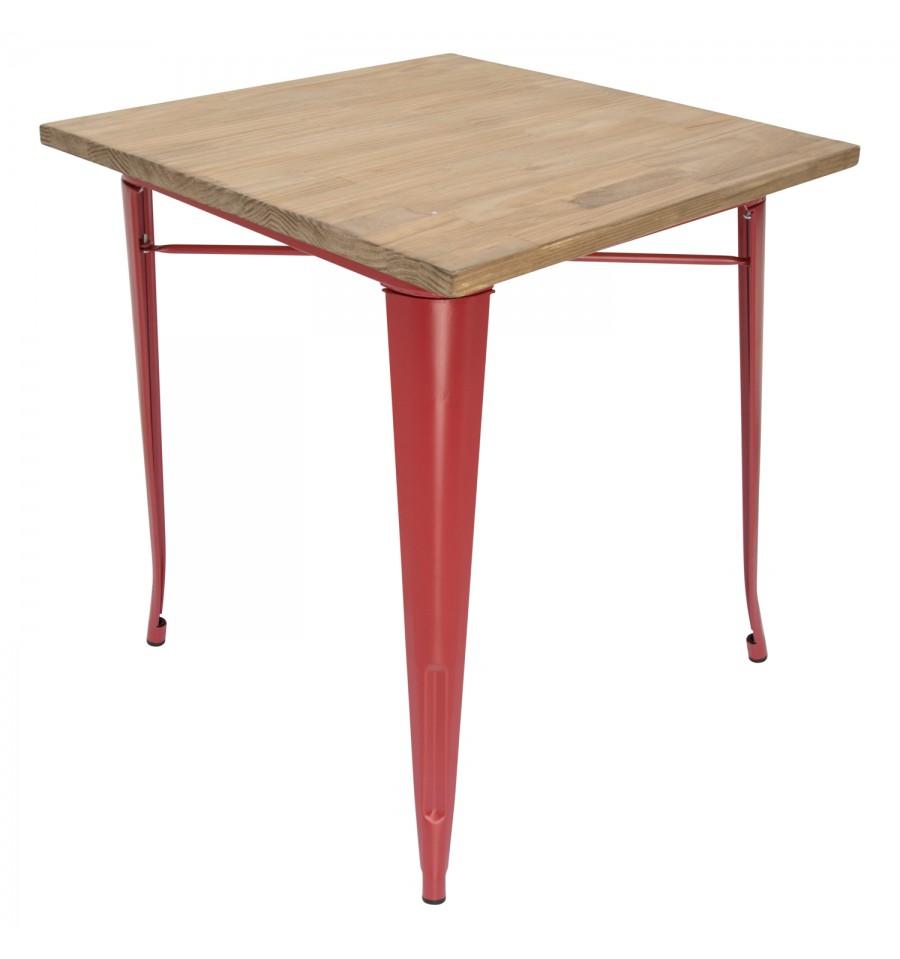 Table A Manger Bistro Rouge Avec Planche En Bois Iconscorner