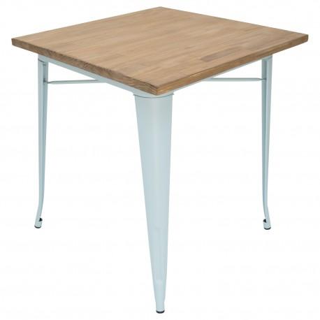 TABLE À MANGER BISTRO BLEU CLAIR AVEC PLANCHE EN BOIS Tables a diner