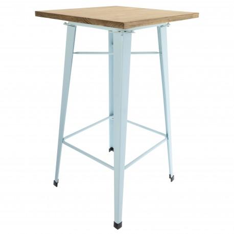 Table Tolix pieds bleu Ciel et plateau en bois Tables a diner