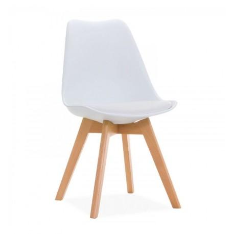 Paquet de 2 chaises blanches de kandem avec des jambes en bois Chaises design moderne