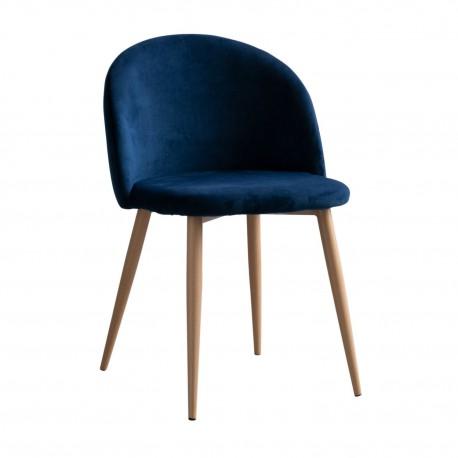 Chaise Design en Velours Bleu Piaf Chaises design moderne