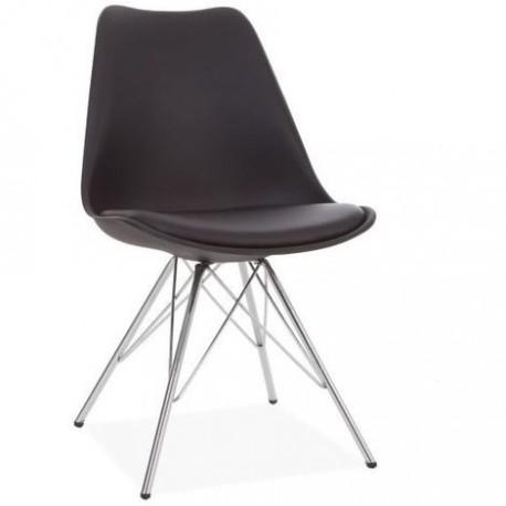 Paquet de 2 chaises noires avec des jambes chromées modèle Tilhi Chaises design moderne