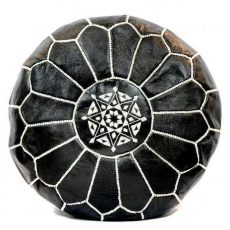 Puff de cuero Marroqui / Negro y blanco